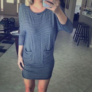 Striped dress - Navy and White